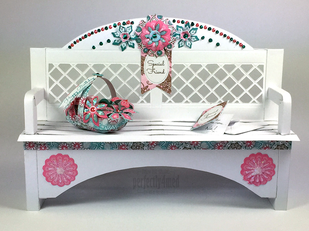 papercraft garden bench  with craftwork cards